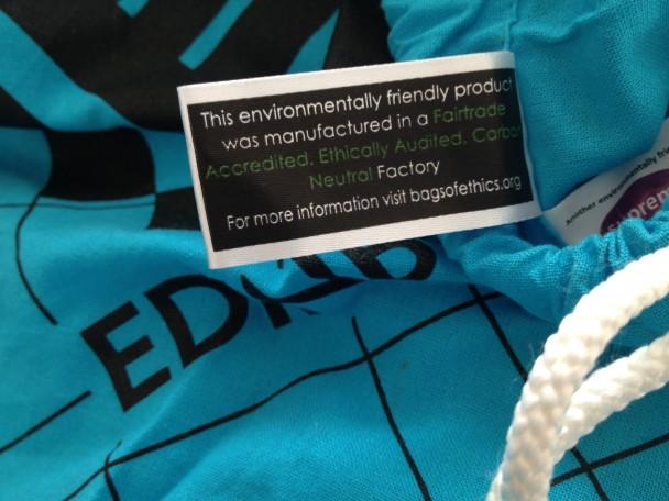 London - Edinburgh - London: Bagdrop Stoffbeutel, 100 % Baumwolle, gefertigt nach Fairtrade-Gesichtspunkten in England.